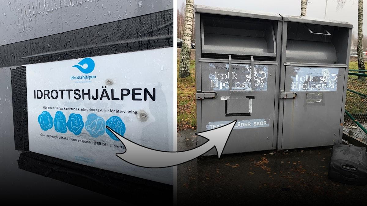 En gammal bild på Idrottshjälpens behållare och en nyare bild på behållarna, som nu är märkta med Folkhjälpen.