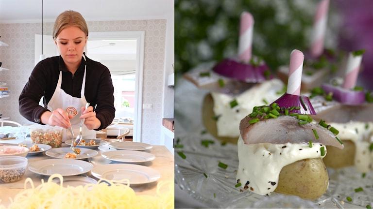 Linn Nilsson Gräsberg på ena bilden och en silldelikatess med färskpotatis på andra bilden.