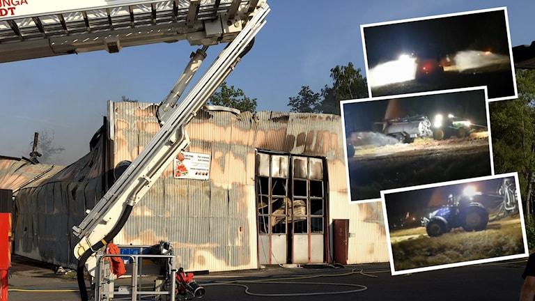 Fabriken som brann ner i Herrljunga under natten. Flera bönder hjälpte till att hindra spridning med sina gödseltunnor.
