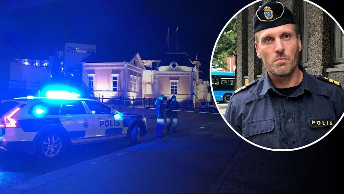 Blåljus vid mordplatsen i Simonsland. Mattias Ramsö inklippt.