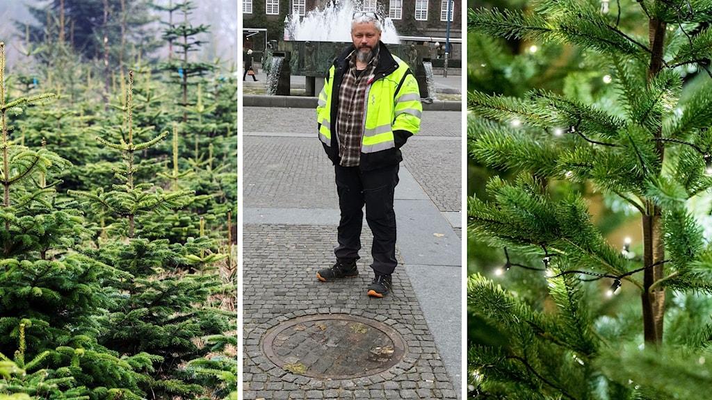 Mikael Barsk, entreprenad ingenjör vid Tekniska förvaltningen på  Borås Stad framför brunnen där julgranen ska placeras.