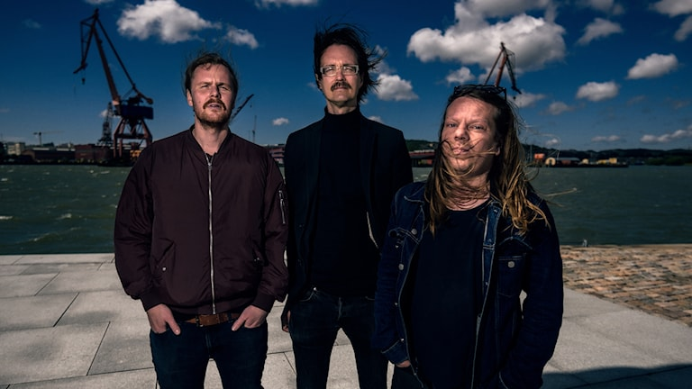 Franska trion, tre män på en kaj i Göteborg