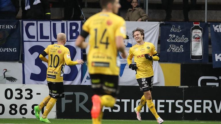 Elfsborg firar mål under förra säsongens möte med Norrköping i Borås.