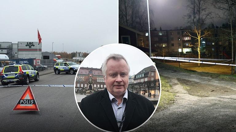 Bilder från brottsplatserna på Getäng respektive Hässleholmen. En man i rock i mitten av bilden.