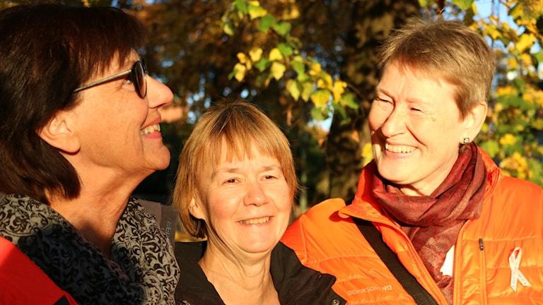 Tre kvinnor i höstsolen