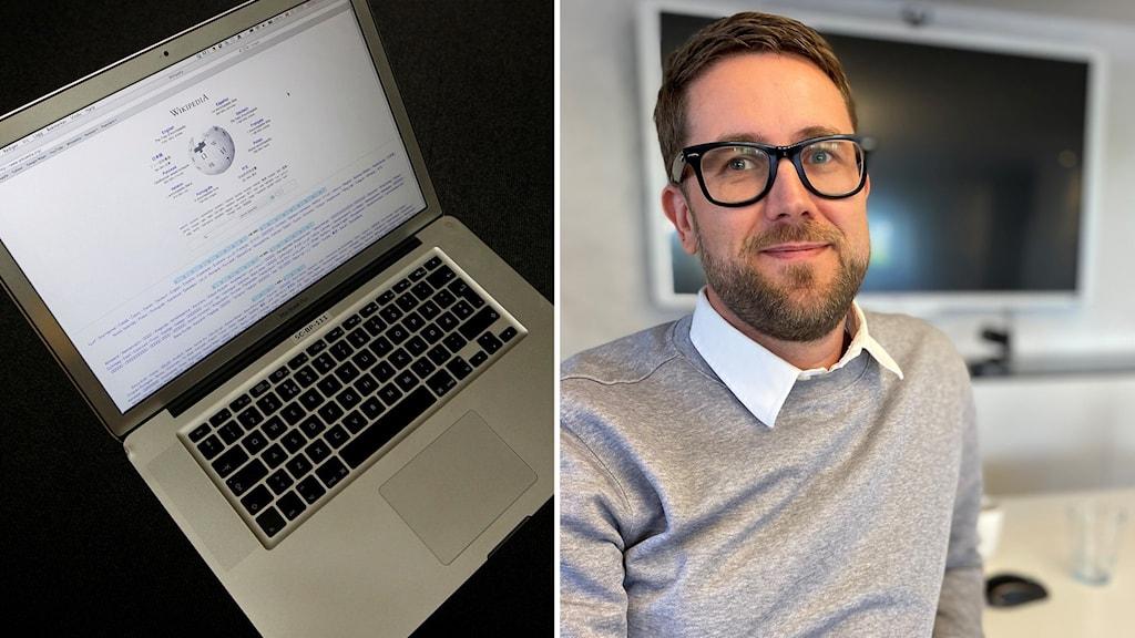 Laptop och Man med glasögon.