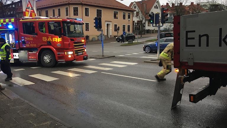 Räddningstjänsten bil Yxhammargatan/Skolgatan Borås
