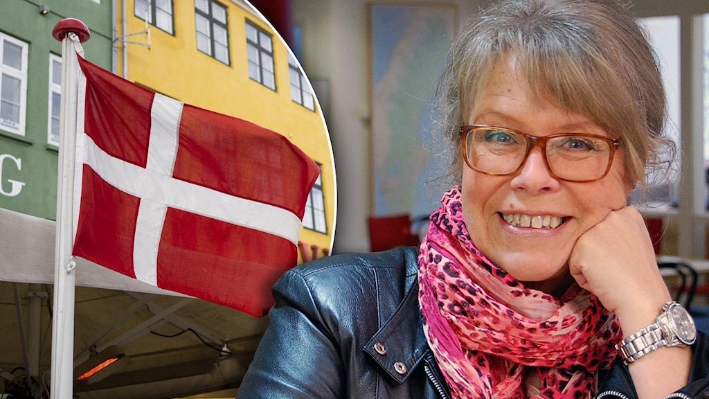 Till vänster ser vi en rödvit dansk flagga i vinden och till höger ser du Tina Gillberg med bruna glasögon och en rosa sjal runt halsen.