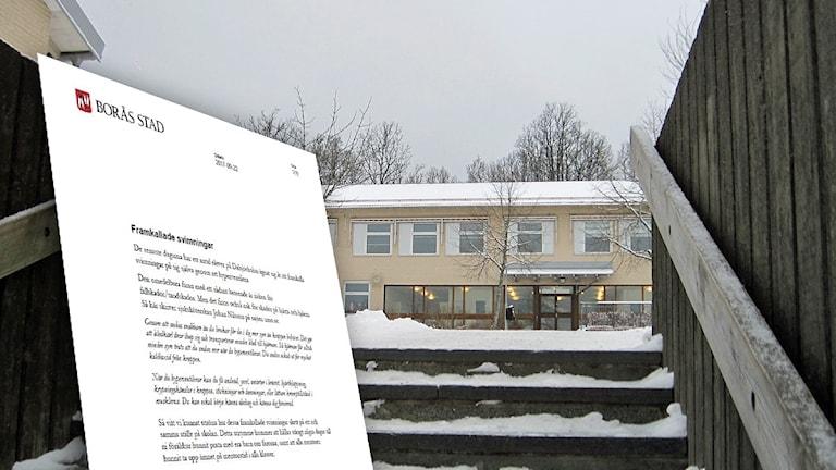 Dalsjöskolan i vinterlandskap.