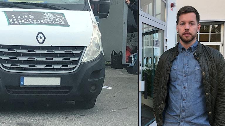 En vit lastbil med texten Folkhjälpen. En man utanför ett entré.