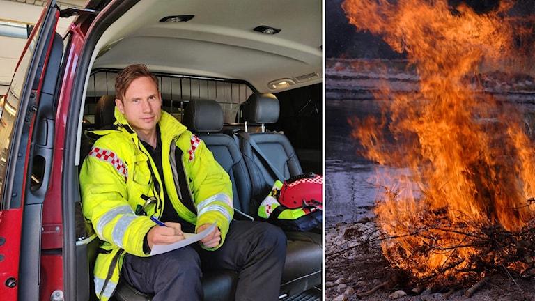 Andreas Leandersson och eld utomhus.