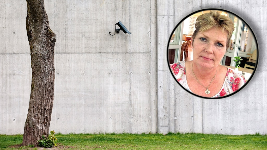 Fängelsemur med övervakningskamera. Inklippt bild på Annika Östberg.