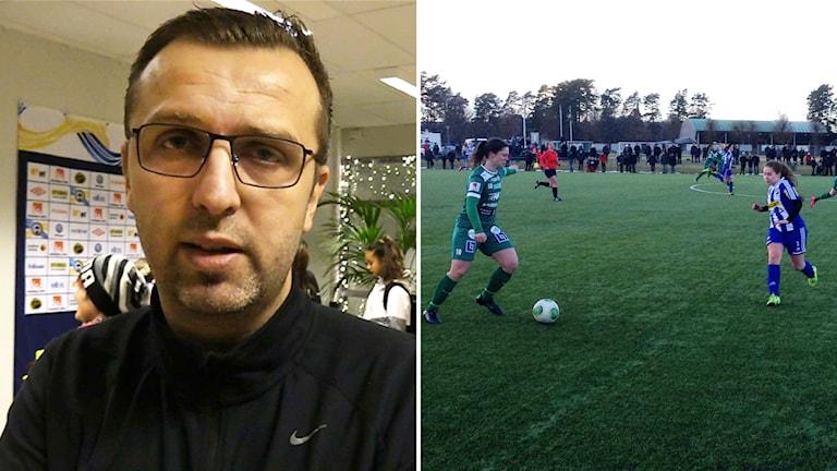 Ismet Tursic och en bild på Örbys damer som spelar fotboll.