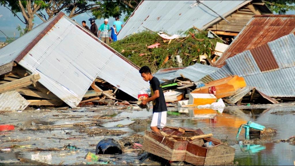 Palu i Indonesien efter tsunamin.