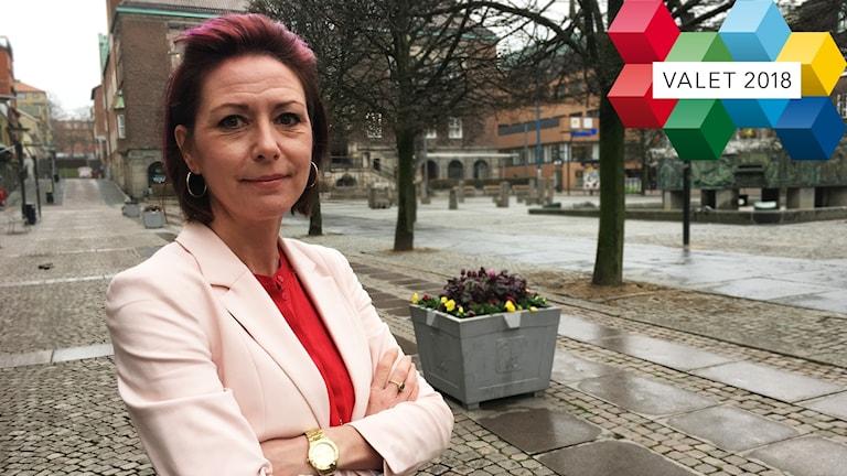 Cecilie Tenfjord-Toftby (M) på stora torget i Borås.