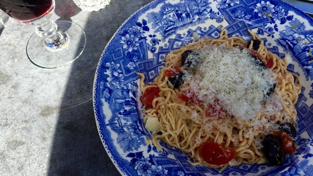 Bild på Timo Räisänen variant av maträtten Aglio e olio