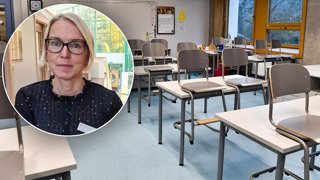 tomt klassrum och infälld bild på kvinna i glasögon