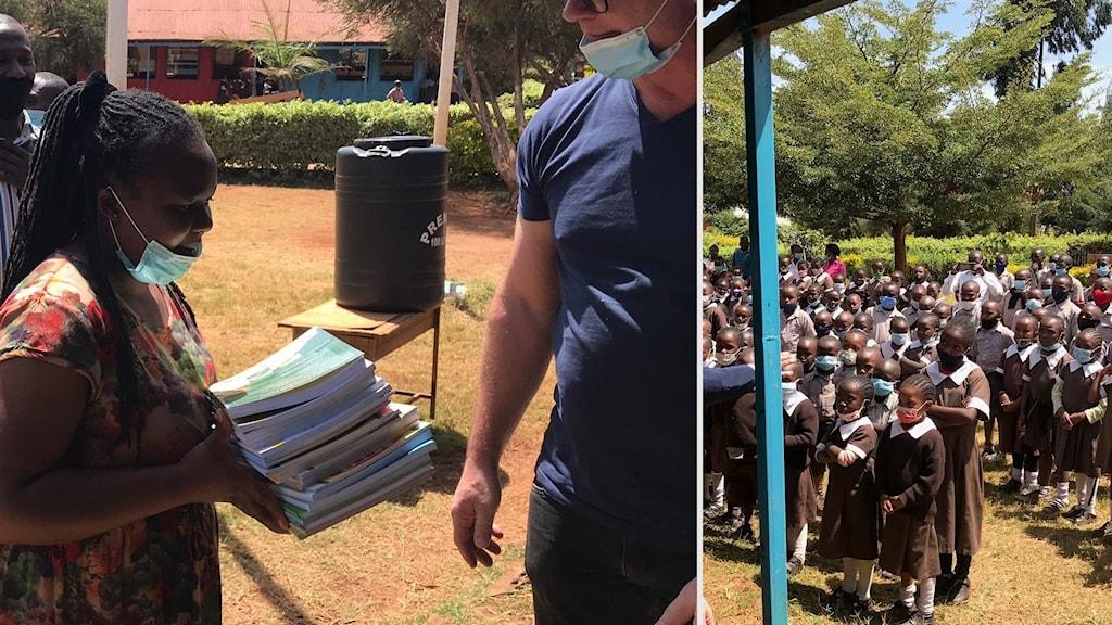 Claes Blixt överlämnar böcker till lärare och elever i Nairobi
