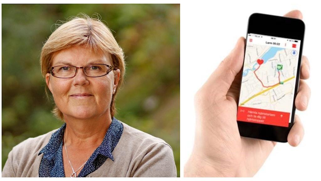 Kvinna till vänster. Telefon till höger.