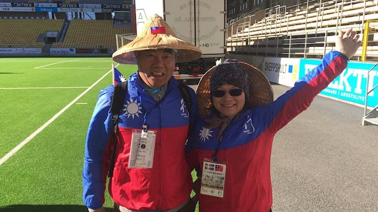 Man och kvinna från Taiwan som ska gå Linnémarshen.