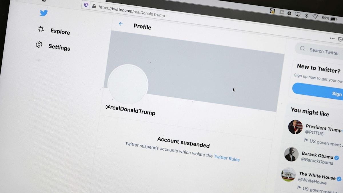Trumps Twitterkonto har stängts av.
