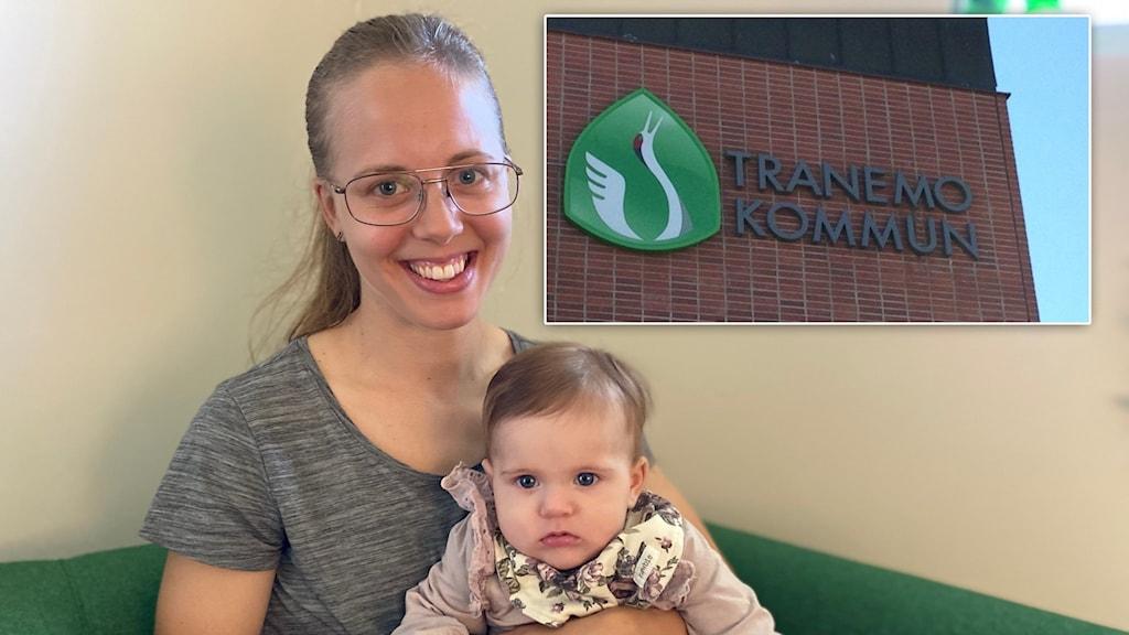 Bild på en mamma vid namn Sophie och hennes dotter Ellie som är på familjecentralen i Tranemo. Också en liten bild på Tranemo kommun.