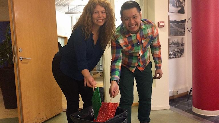 Jessica Magnusson och Randy Lamadjido älskar återvinning.