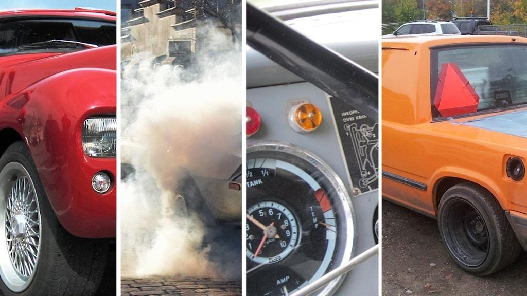 Bildkollage på bilar, avgaser, däck, bilinteriör och a-traktor med varningsskylt.