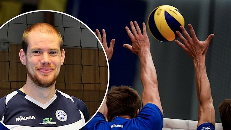 Armar sträcks efter en volleyboll i luften