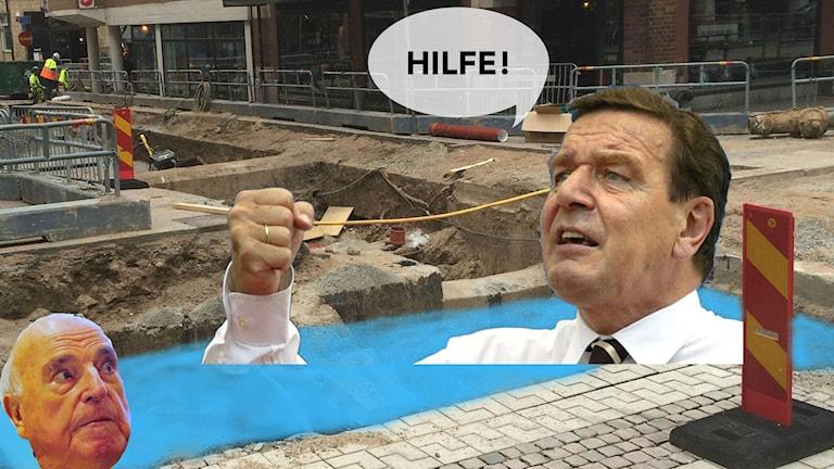 Kohl och Schröder har ramlat i kanalen. Bilden är ett montage.