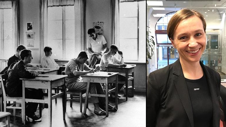 Anna Lundh bredvid en svartvit bild från ett klassrum på 1960-talet