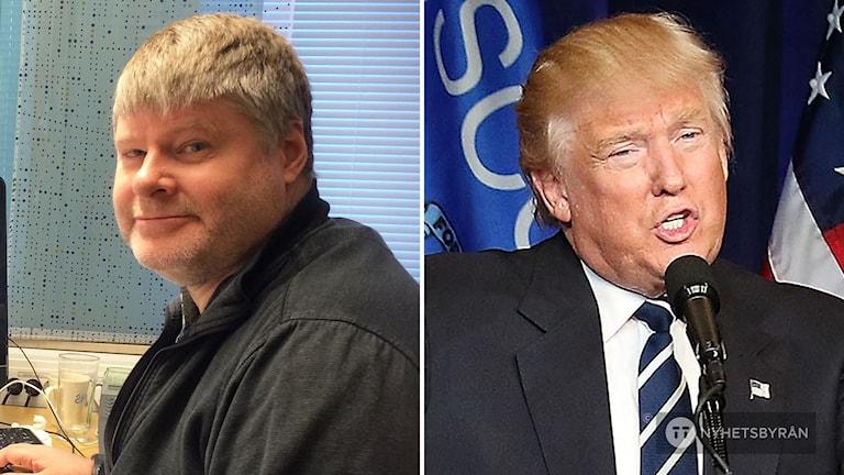 Jan Nolin,  professor i informationsvetenskap på Högskolan i Borås och republikanernas Donald Trump.