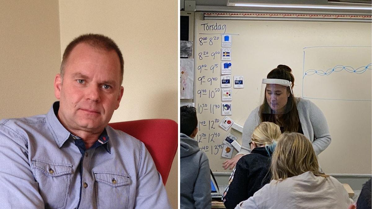 En man i en fåtölj. En bild från ett klassrum där läraren bär visir.