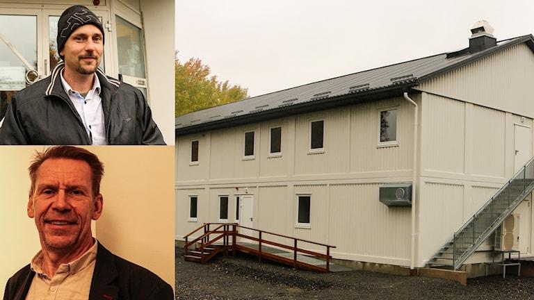 HVB-hemmet på Lokes väg i Bollebygd. Modulbostad i vitt. I bilden syns också politikerna Daniel Persson (SD) och Peter Rosholm (S).