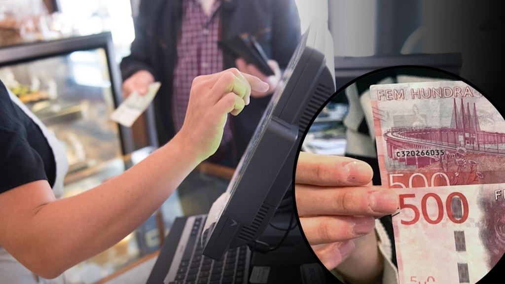 Kontant betalning i kassa. Inklippt bild på två 500-kronorssedlar.