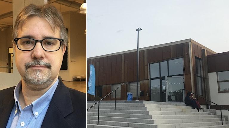 Till höger: Olof Berge Kleber, chef för biblioteken i Borås. Till vänster: Hässlehuset.