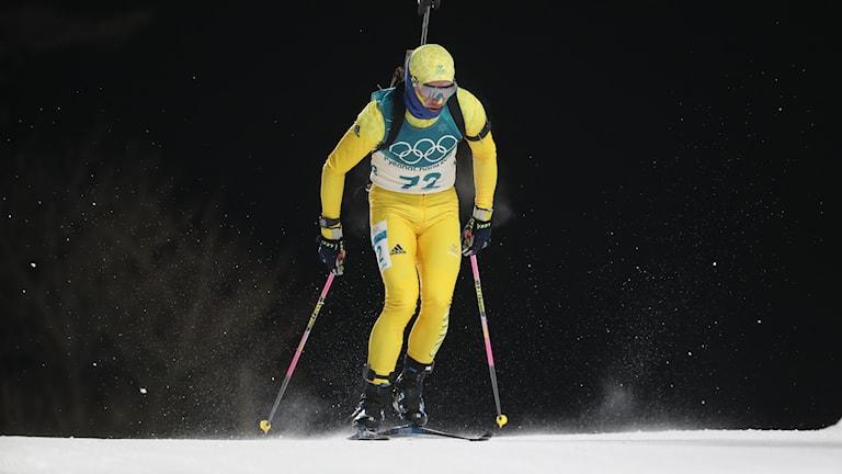 Sveriges Jesper Nelin under söndagens tävling i skidskytte herrar, sprint, 10 km, på  Alpensia Biathlon Centre under vinter-os i Pyeongchang