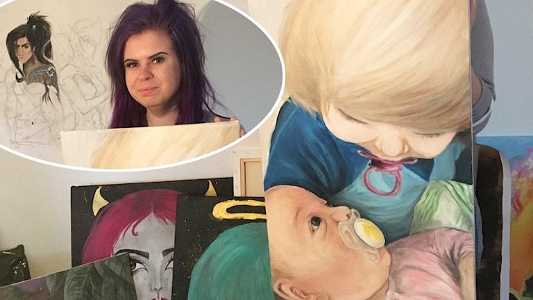 Elin inklippt bland lite av hennes konst.
