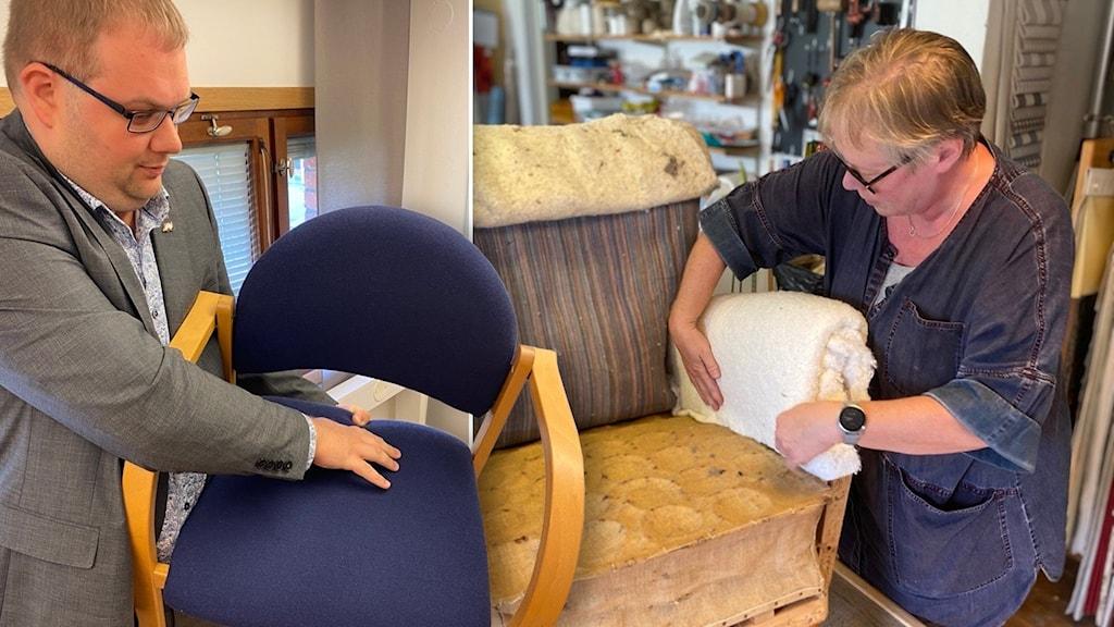 En man håller i en stol. En kvinna restaurerar en fotölj.