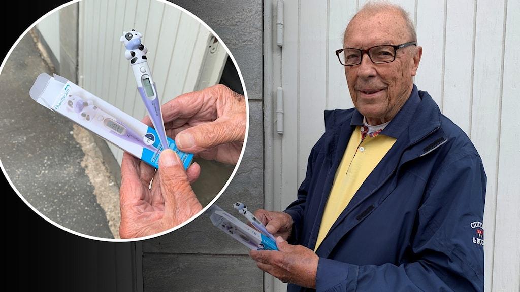 Äldre man med termometer i handen.