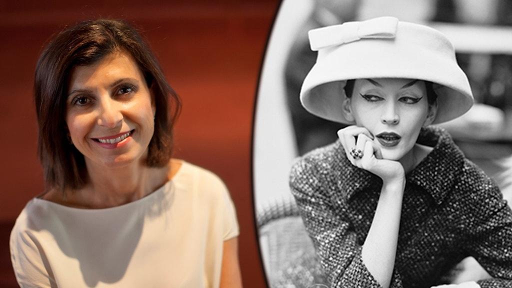 Leende mörkhårig kvinna i vit blus. Kvinna i stor hatt och dräkt inklippt.