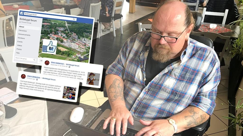 Glenn Zetterlind framför sin dator. Collage med FB-inlägg.