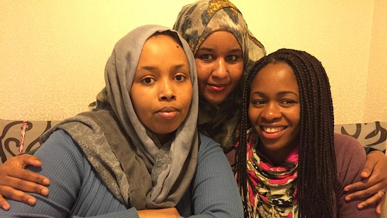 Nimo Barkad, Badriya Rooble och Chanceline Nzeyimana vill driva aktiviteter för kvinnor på Hässleholmen.