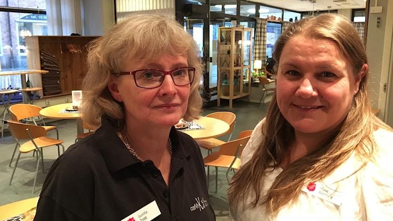 Gunilla Trygg och Marie Blomberg på Café Källan i Borås.