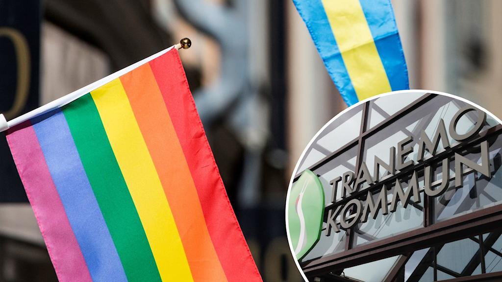 Prideflagga och Tranemo kommuns logga