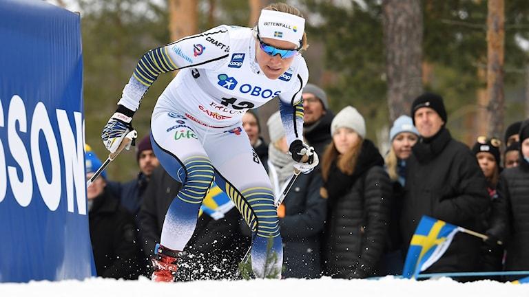 Hanna Falk under sprintkvalet i Falun.