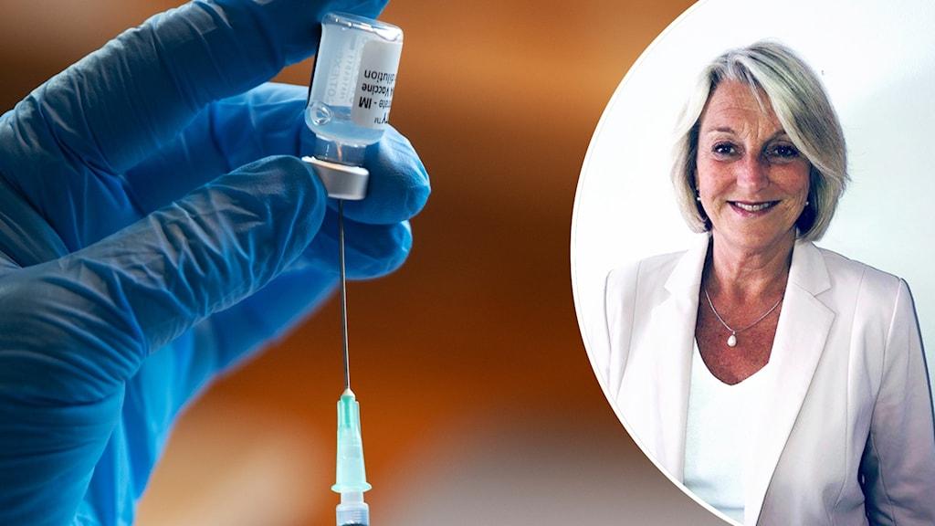 Hand med handske som håller en vaccinationsampull mot en injektionsspruta. Till höger infälld bild på kvinna.