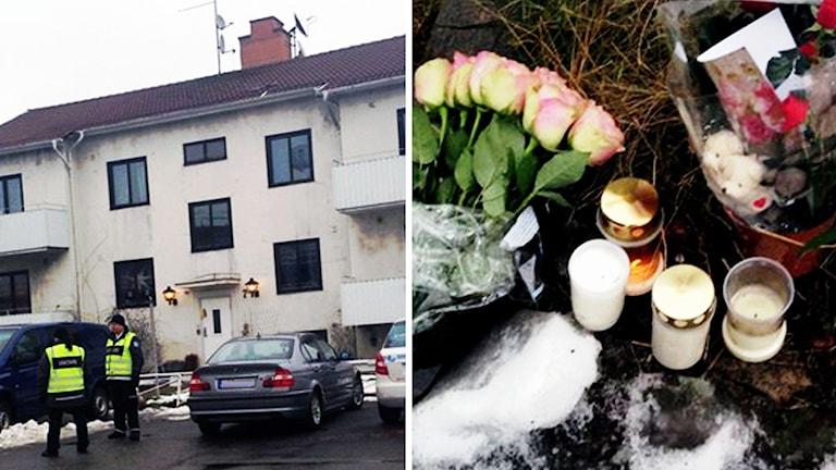 Hvb-hemmet i Mölndal och bilder på blommor och ljus utanför i snön. .
