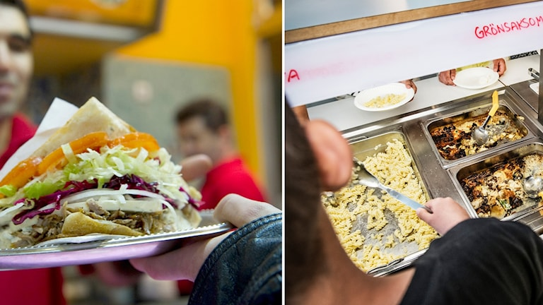 Till vänster en bild på en kebab, till höger en bild på matbehållare i en skolmatsal.