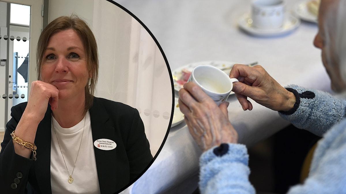 En kvinna sitter i ett rum. Arkivbild på äldre dam som dricker kaffe.